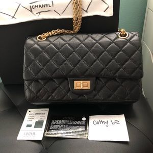 Chanel Reissue 2.55 Black Quilted Aged Calfskin